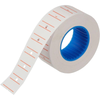 Этикет-лента 21,5х12 с перфорацией белая с красной полосой (800 эт/рол)
